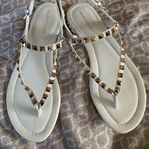 White sandals with studs